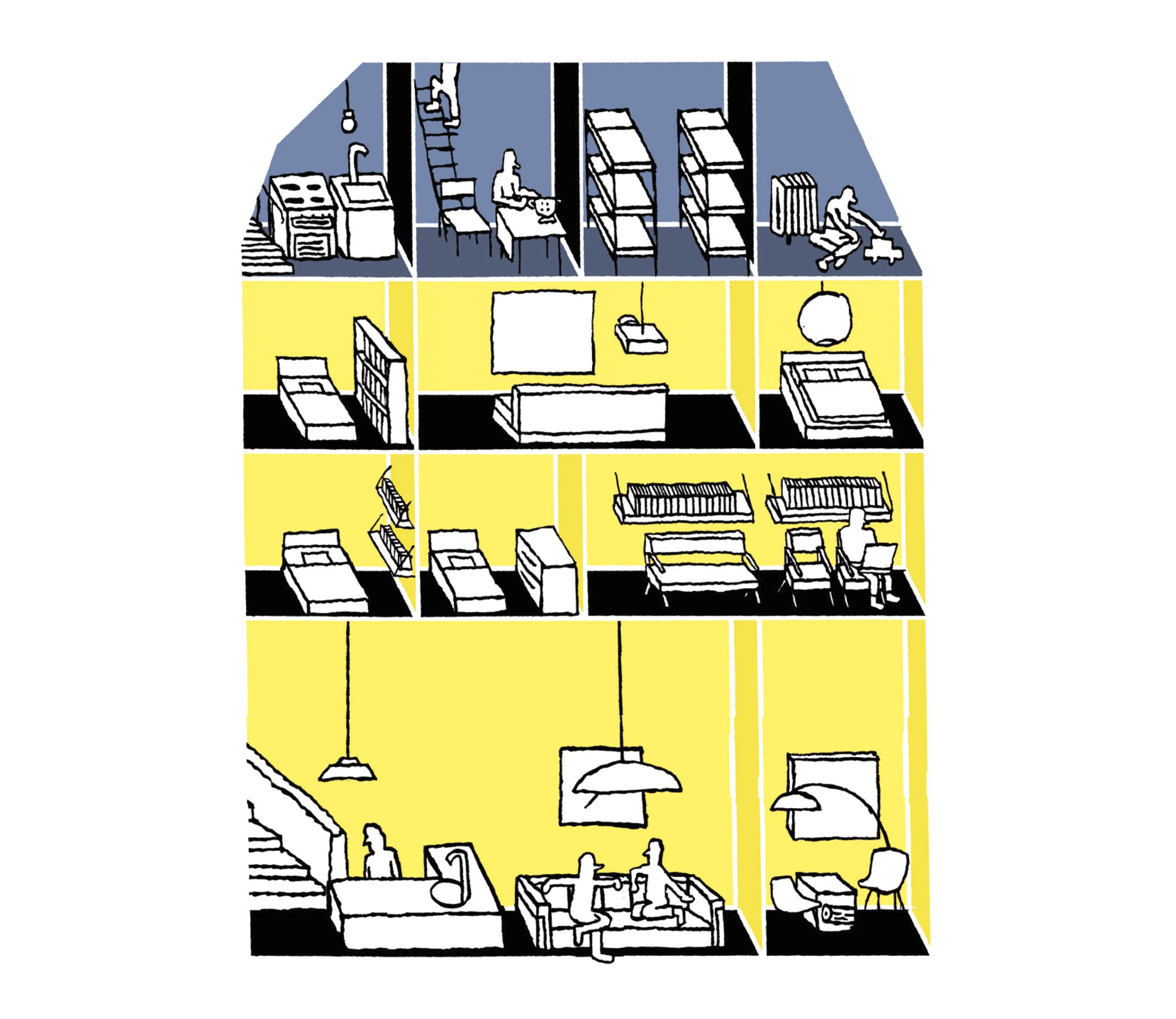 Loïc Gaume illustrateur auteur graphiste belgique bruxelles Illustration du dossier sur la mixité urbaine Mixité urbaine : ces lieux aux nouvelles fonctionnalités de la revue L'Architecture d'Aujourd'hui n°416, 2016.