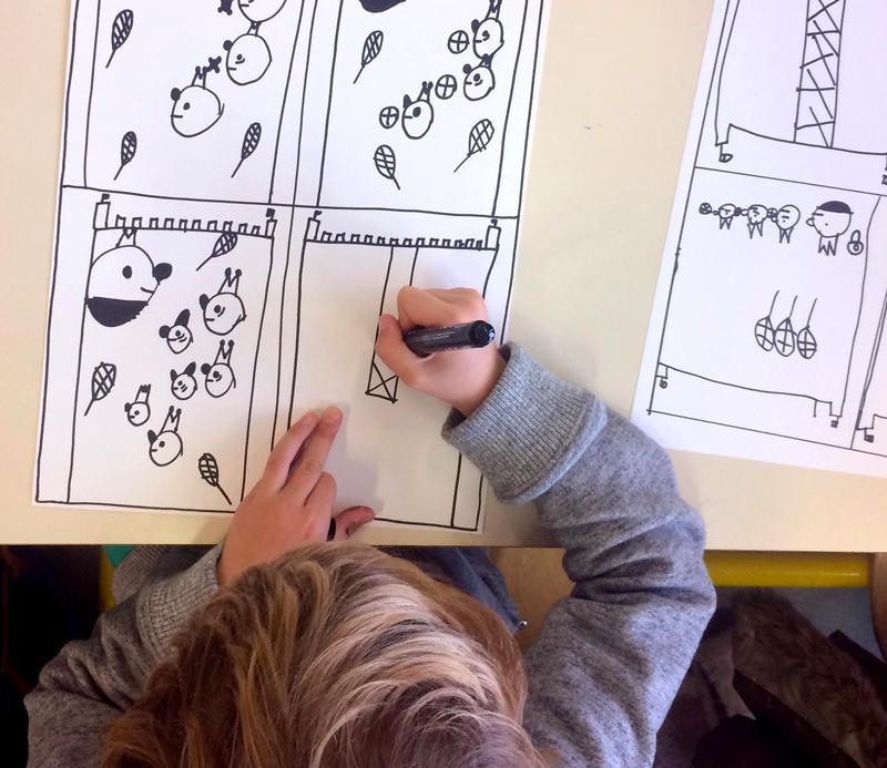 Loïc Gaume illustrateur auteur graphiste belgique bruxelles Cycle d'ateliers dans le cadre de L'Enfance de l'art, Boulogne-sur-mer avec 15 classes de primaire.