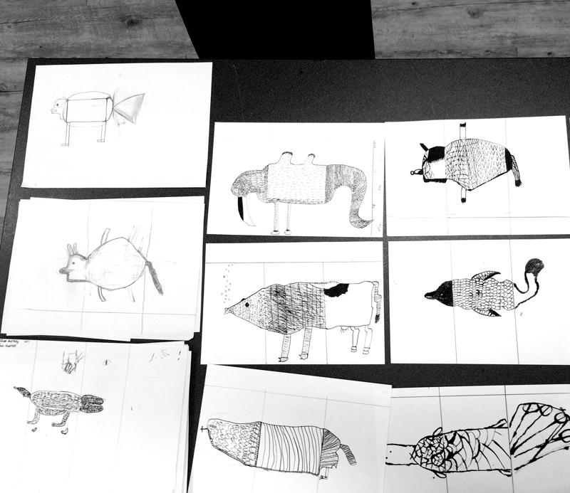 Loïc Gaume illustrateur auteur graphiste belgique bruxelles Ateliers narratifs avec des classes de primaire, initiés par le Théâtre du Tilleul dans le cadre de «La bibliothèque rêvée de Peter».