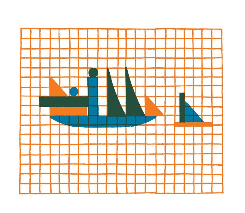 Loïc Gaume illustrateur auteur graphiste belgique bruxelles Jouet du Bauhaus: Activité pour enfants : «Amuse-toi à compléter le paysage du bateau en coloriant la grille !» Composer un décor avec les formes géométriques inspirées du jeu de construction en bois Bauhaus réalisé par Alma Buscher en 1923.