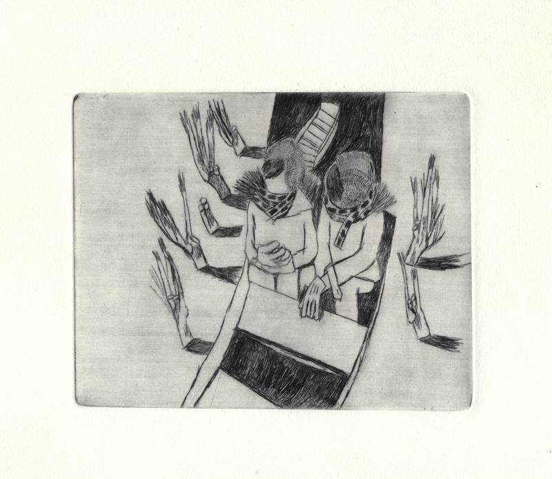 Loïc Gaume illustrateur auteur graphiste belgique bruxelles La Barque gravures (pointe sèche), poèmes d'Amandine Marembert, Une balade en barque dans les marais de Bourges a inspiré cette narration visuelle à la pointe sèche.